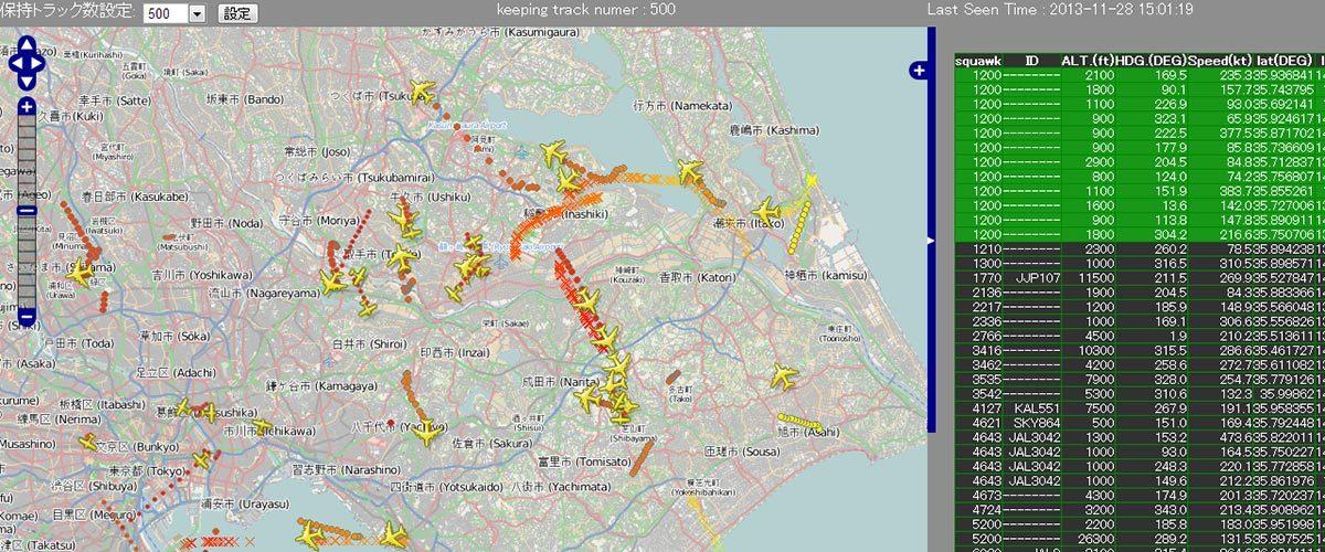 航空機の位置情報を計測し可視化(PSSR)